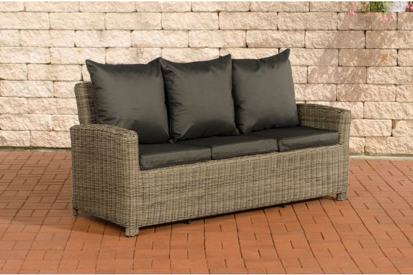 Canapé de Jardin 3 places Fisolo Fibres de polyrotin rond