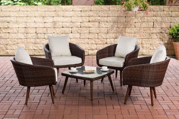 Lounge-Set Ameland Flachrattan cremeweiß 40 cm (Dunkelbraun) braun-meliert